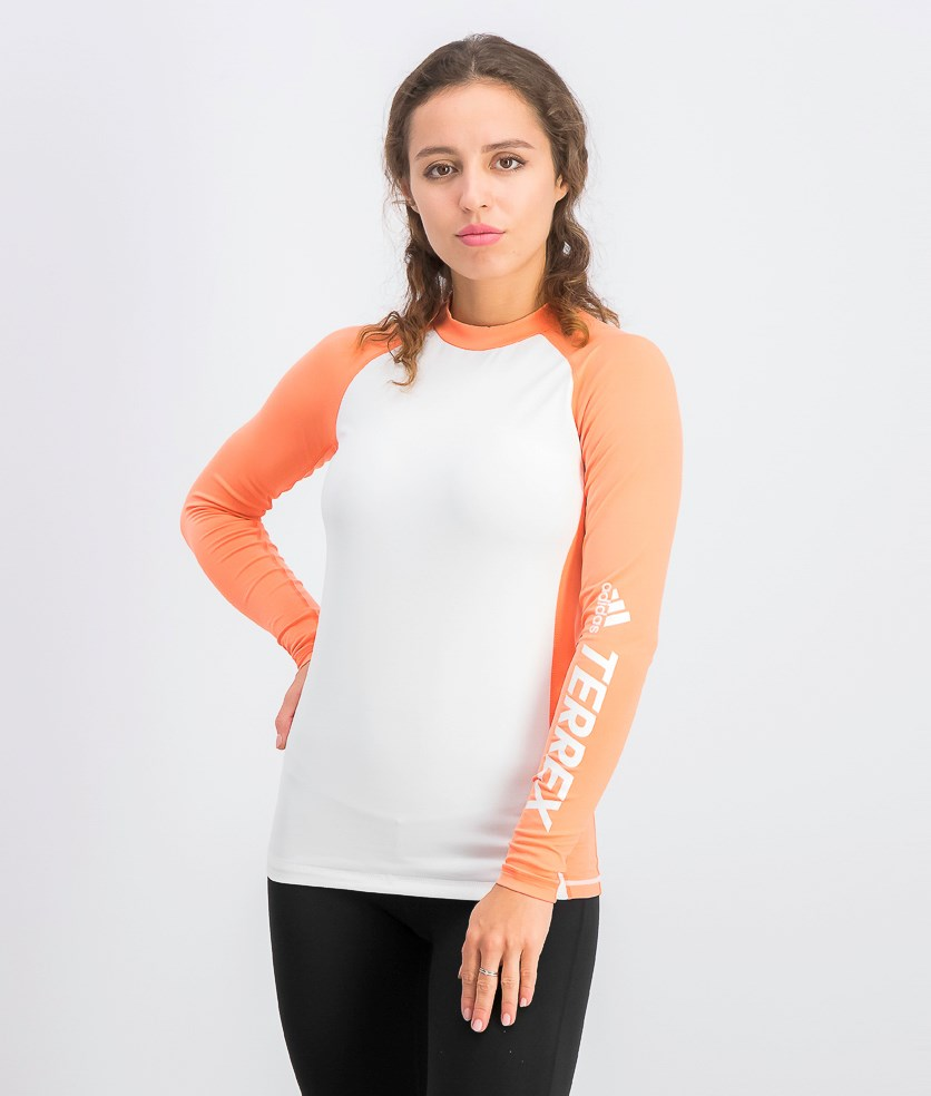 Women's Act Rashguard, White/Coral