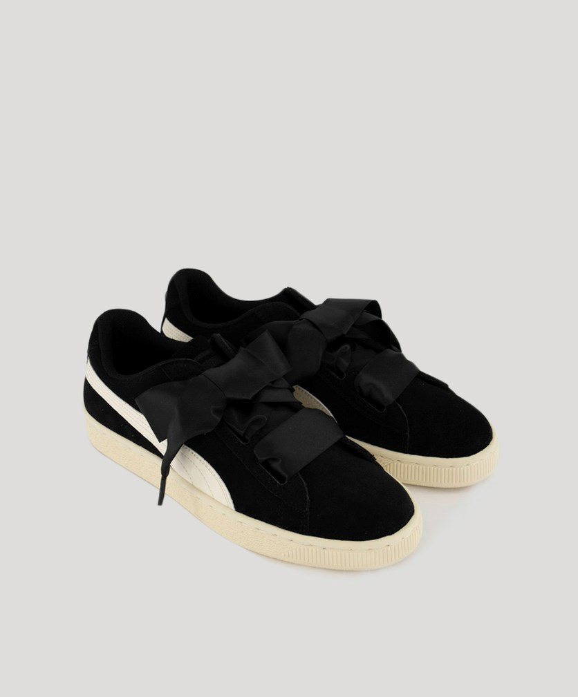 Girl's Sneaker's Heart Suede Jewel, Black