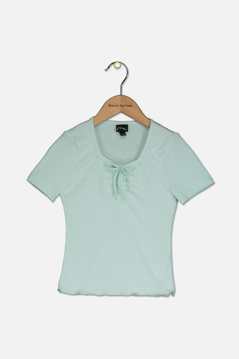 Girls' Rib Cinched Front T-Shirt, Mint Green