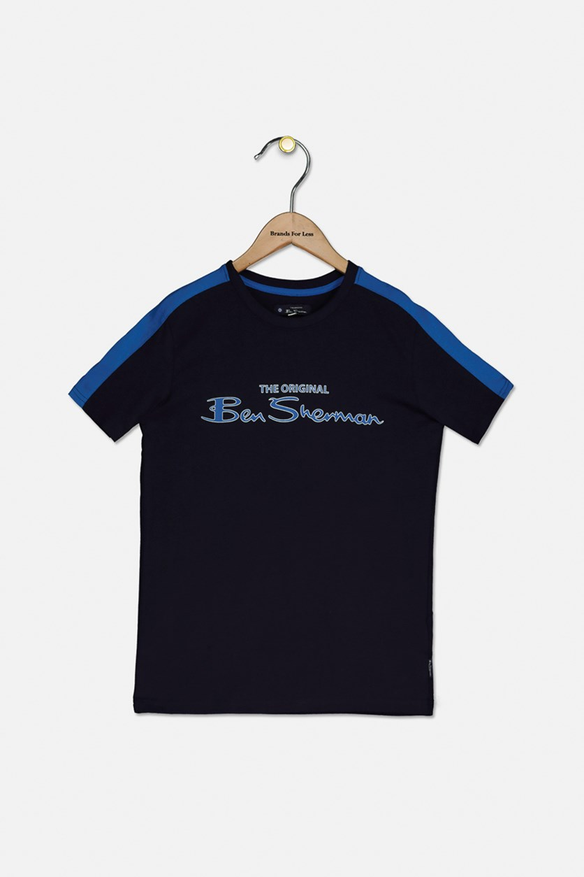 Kids Boys Brand Logo T-shirt, Navy Blue