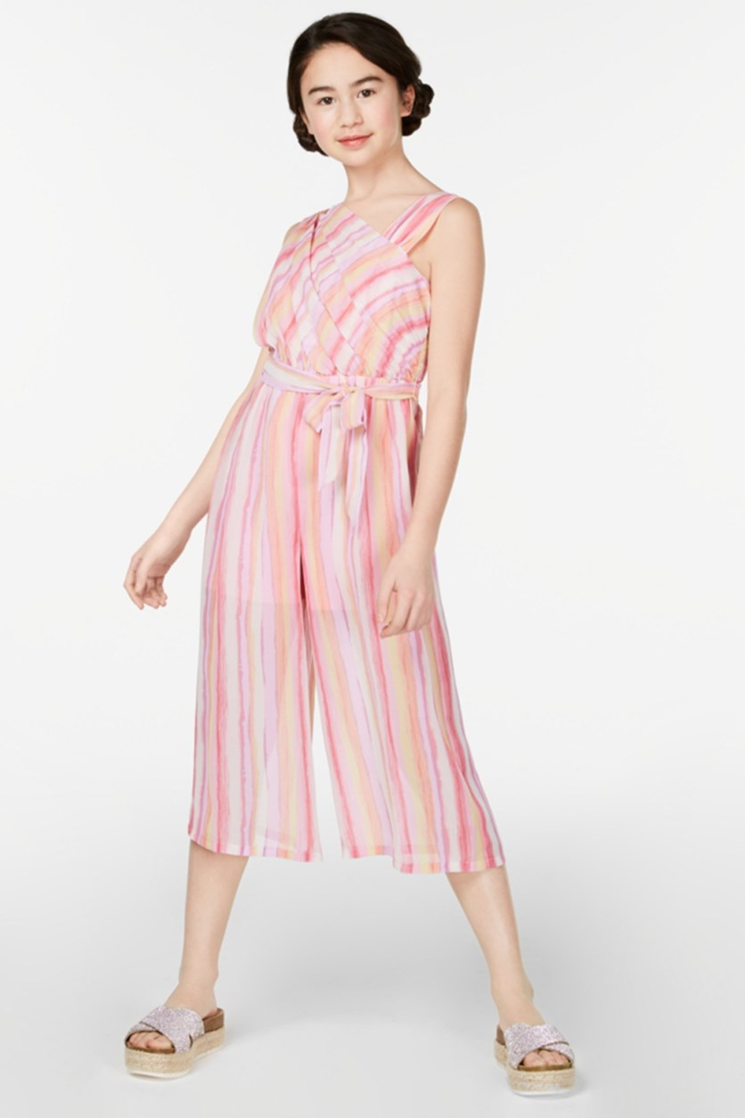 Big Girls Striped Jumpsuit, Pink Combo