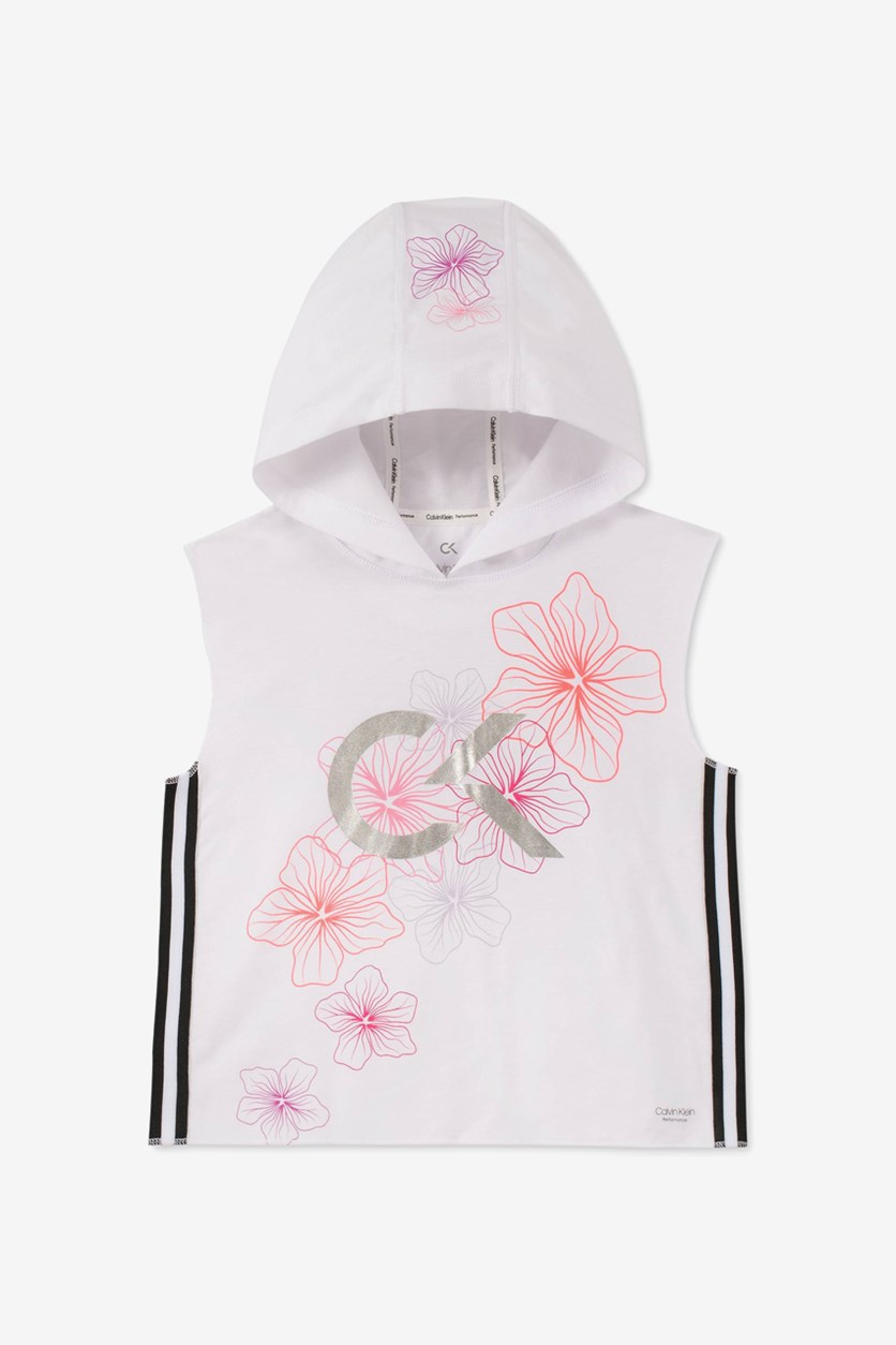 Girls Floral-Print Sleeveless Hoodie, White