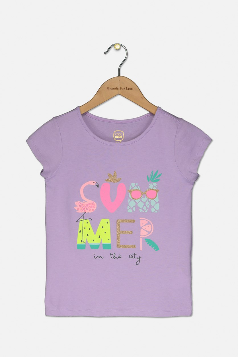 Girl's Short Sleeve Graphic Print T-Shirt, Purple