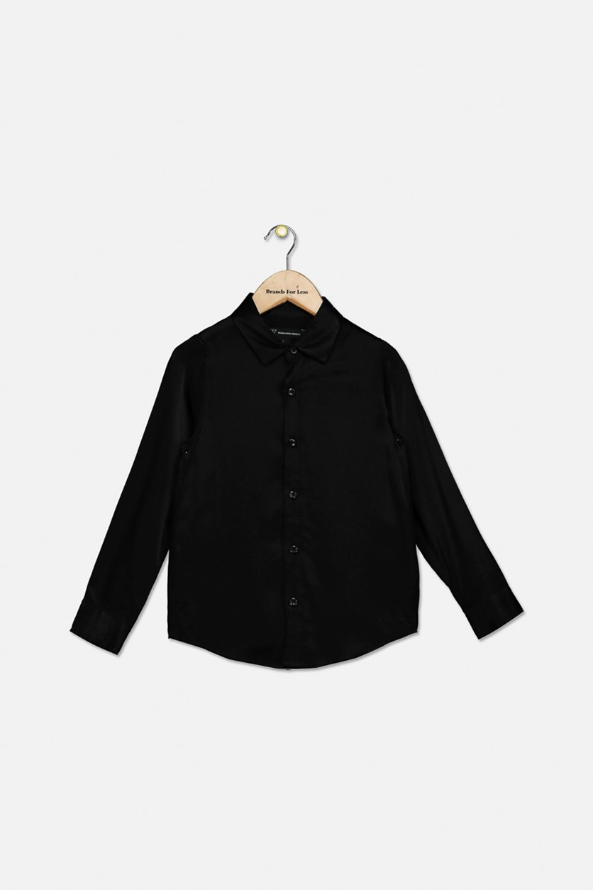 Kid's Boys' Match-To-Dad Satin Shirt, Black