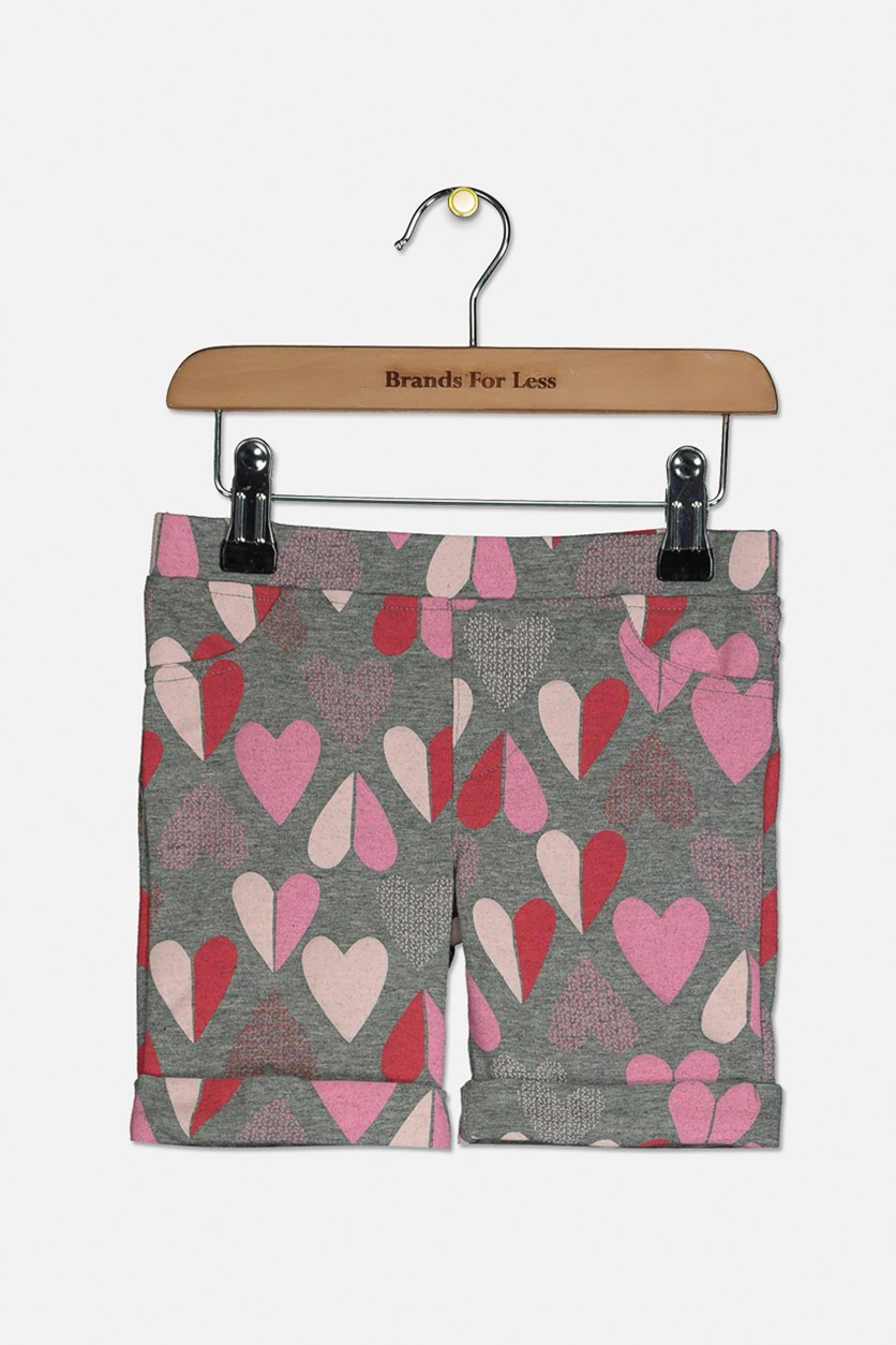 Toddler Girls Heart-Print Bermuda Shorts, Pewter Heather