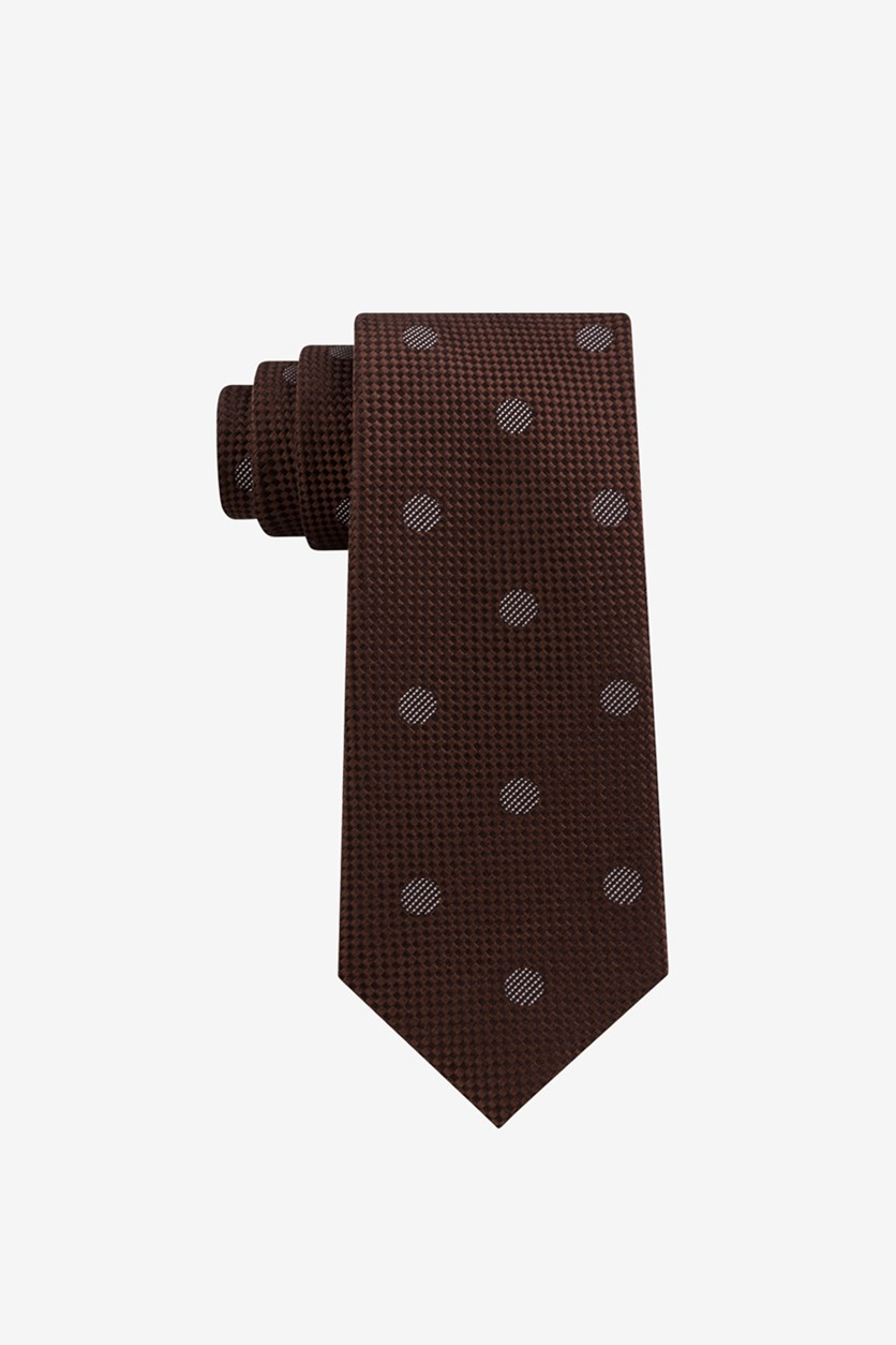 Men's Checkered Textured Dot Silk Tie, Chocolate