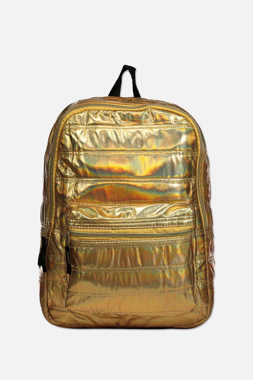 Little & Big Girls Metallic Quilted Backpack, Gold