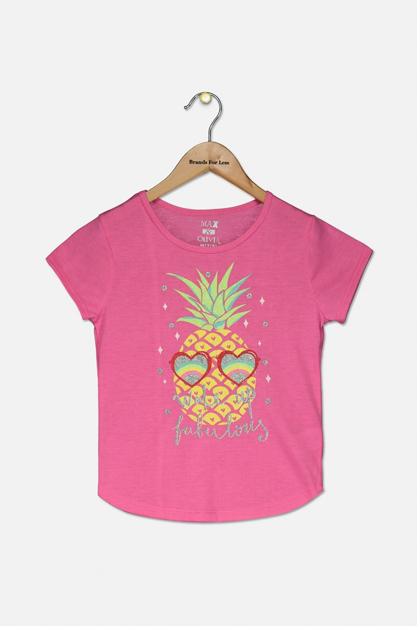 Girl's Graphic Print Tee, Pink Combo