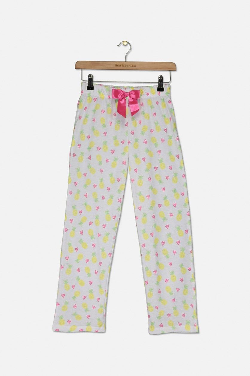 Big Girls Pineapple-Print Pajama Pants, White Combo