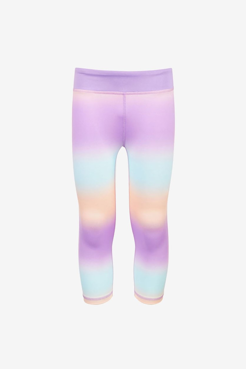 Big Girl's Ombre-Striped Capri Leggings, Peach Ombre