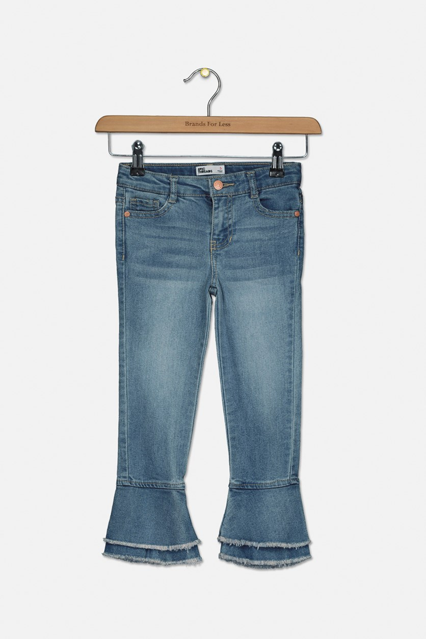 Little Girls Frayed Bell Bottom Jeans, Woodstock Wash