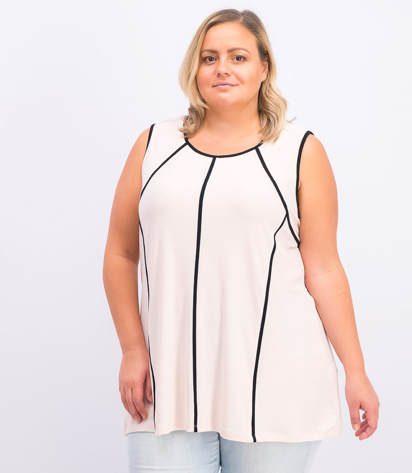 Plus Size Piped-Trim Tank Top, Peony