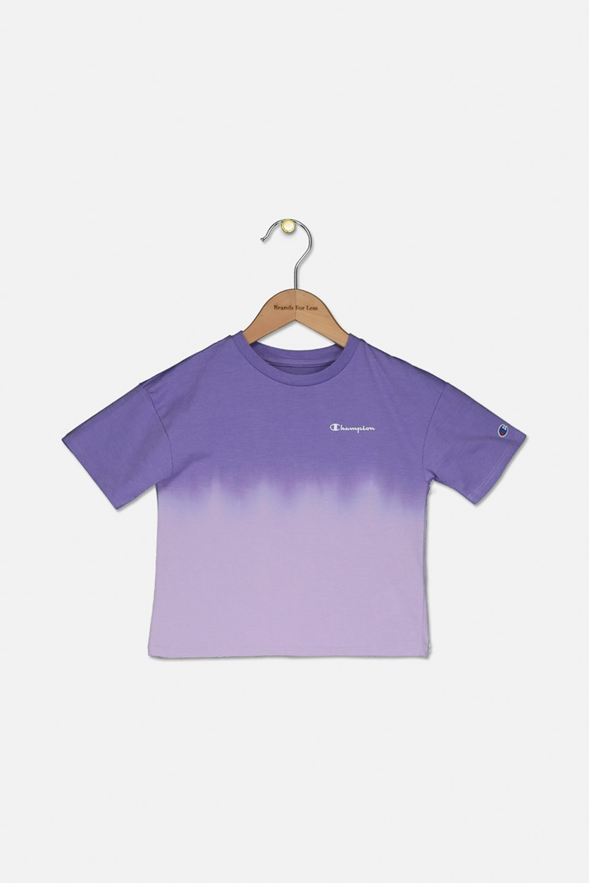 Little Girl's Dip-Dyed Colorblocked T-Shirt, Purple