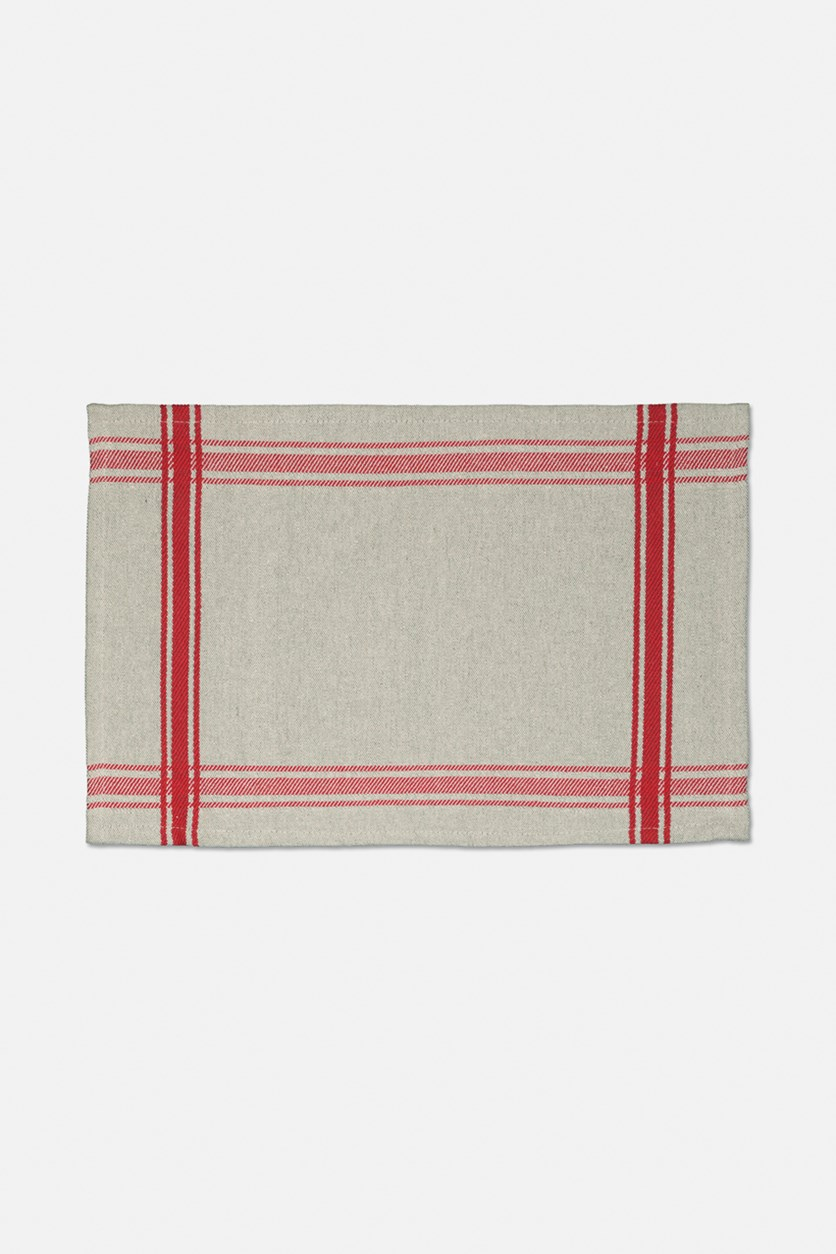 Farmhouse Woven Placemat, Red/Oatmeal