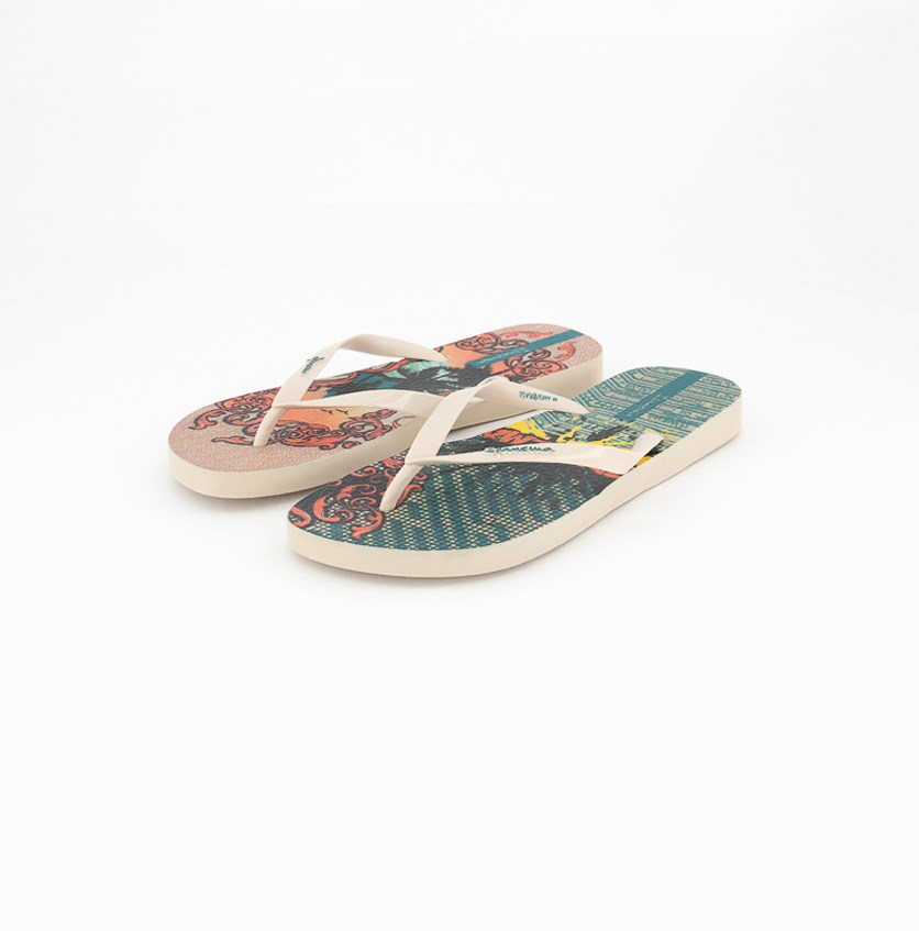 Women's Printed Slipper, Beige Combo
