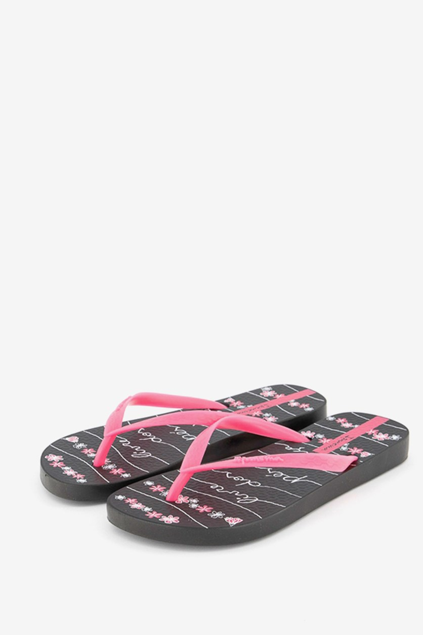 Women's Printed Slipper, Black/Pink Neon