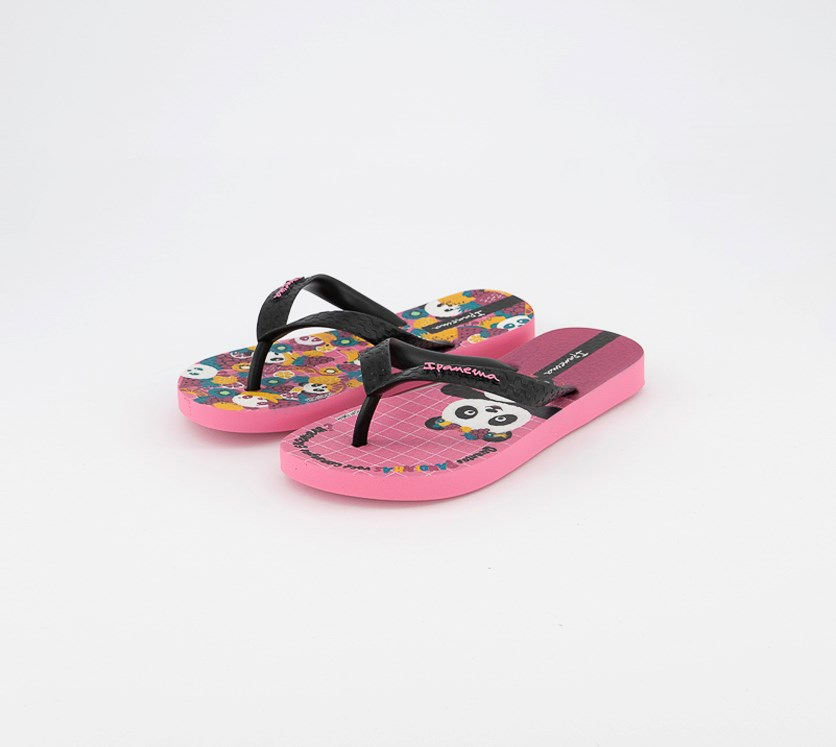 Girl's Panda Slippers, Pink/Black Combo