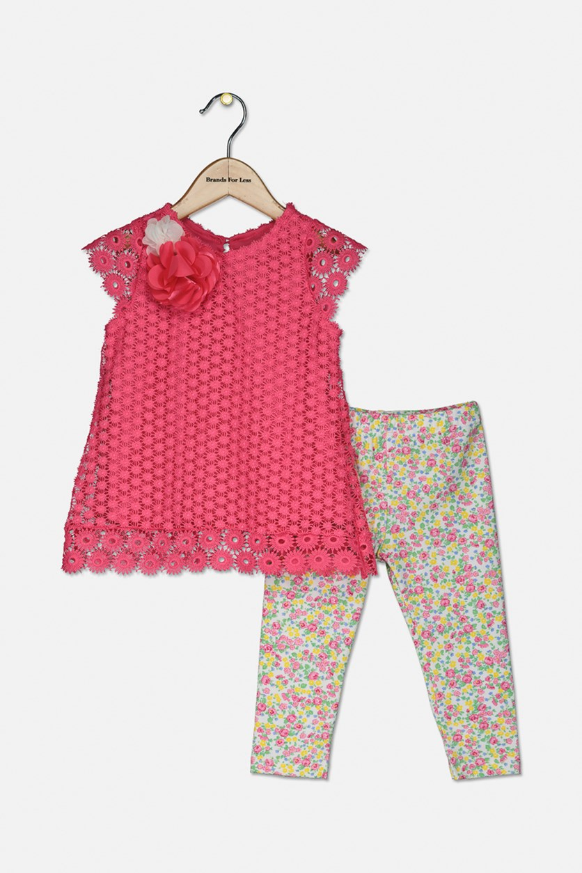 Baby Girls 2-Pc. Crochet Lace Tunic & Floral-Print Leggings Set, Pink/White