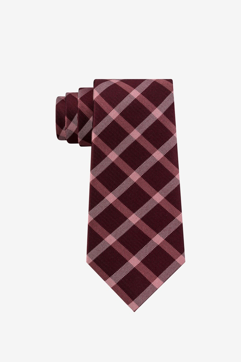 Men's Plaid Tie, Maroon Combo