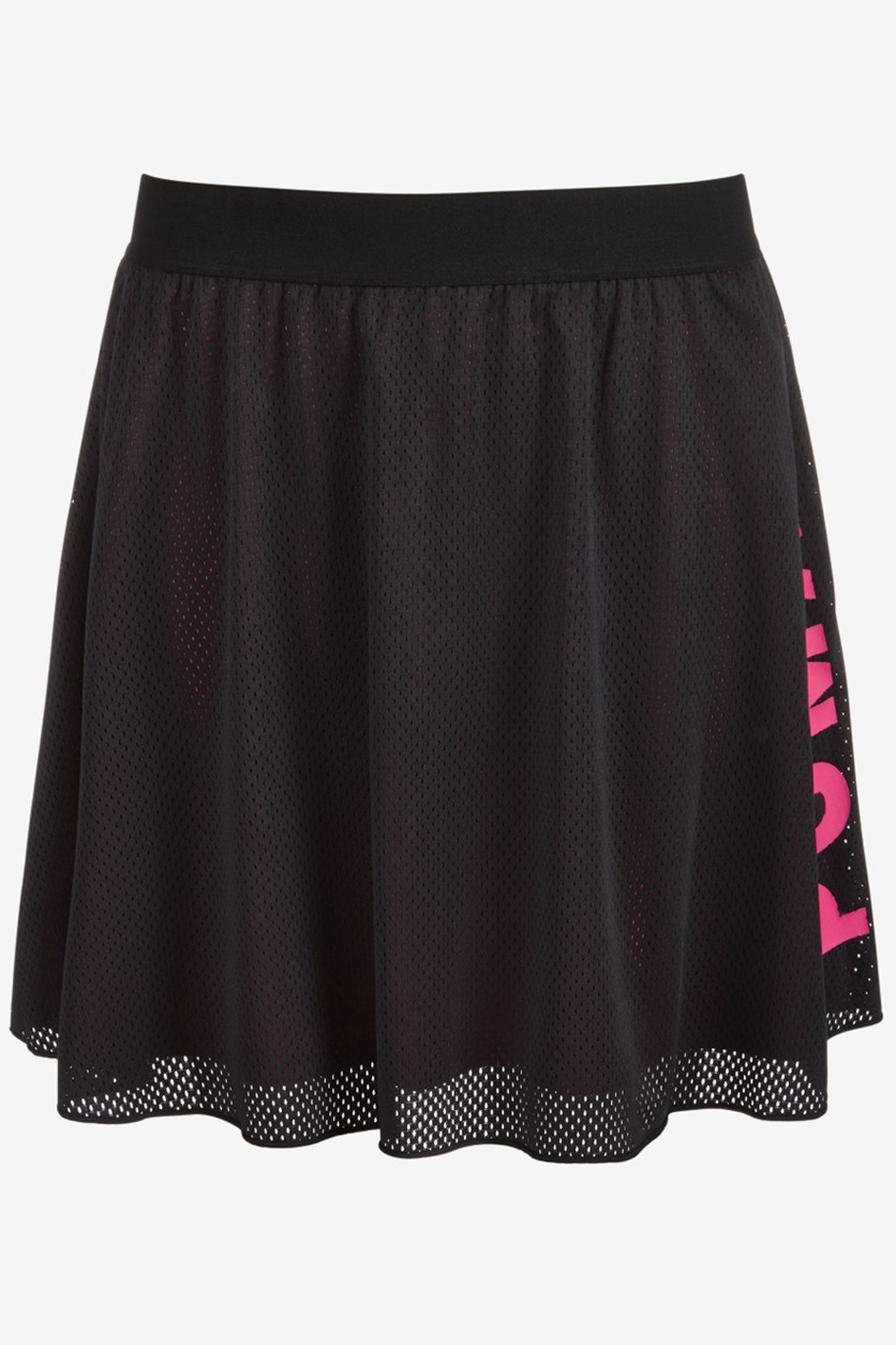 Big Girls Mesh Logo Skirt, Black