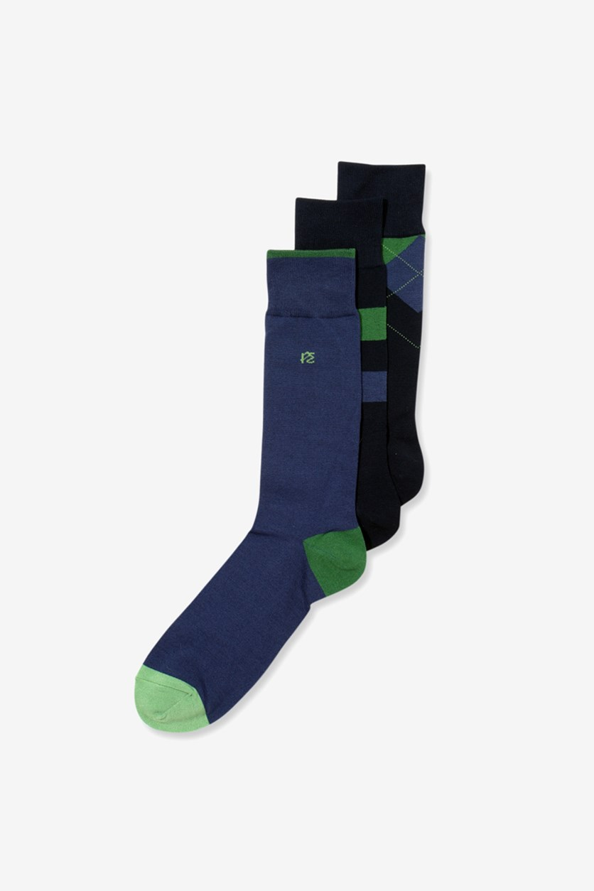 Men's 3 Pack Print Socks, Navy/Blue