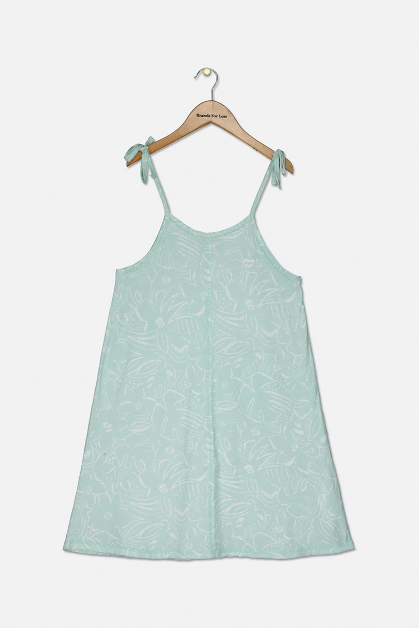 Big Girls Floral Print Tank Dress, Mint Green/White