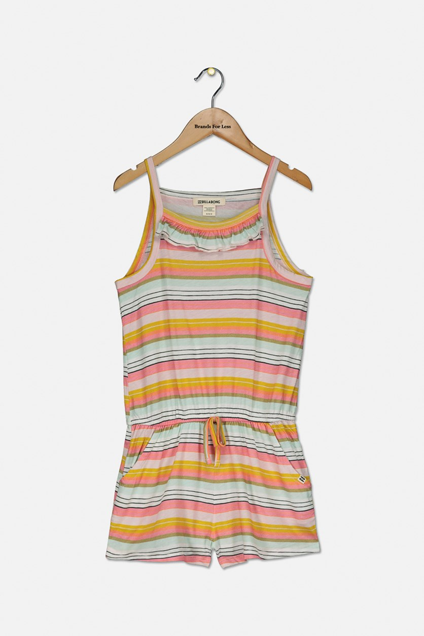 Big Girls Only One Striped Romper, Orange/Pink