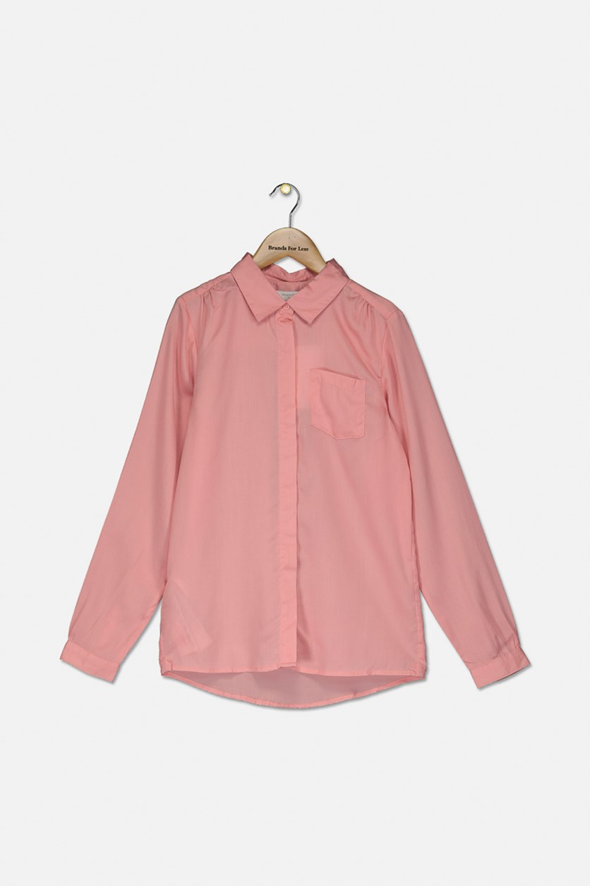 Girl's Long Sleeve Blouse, Pink