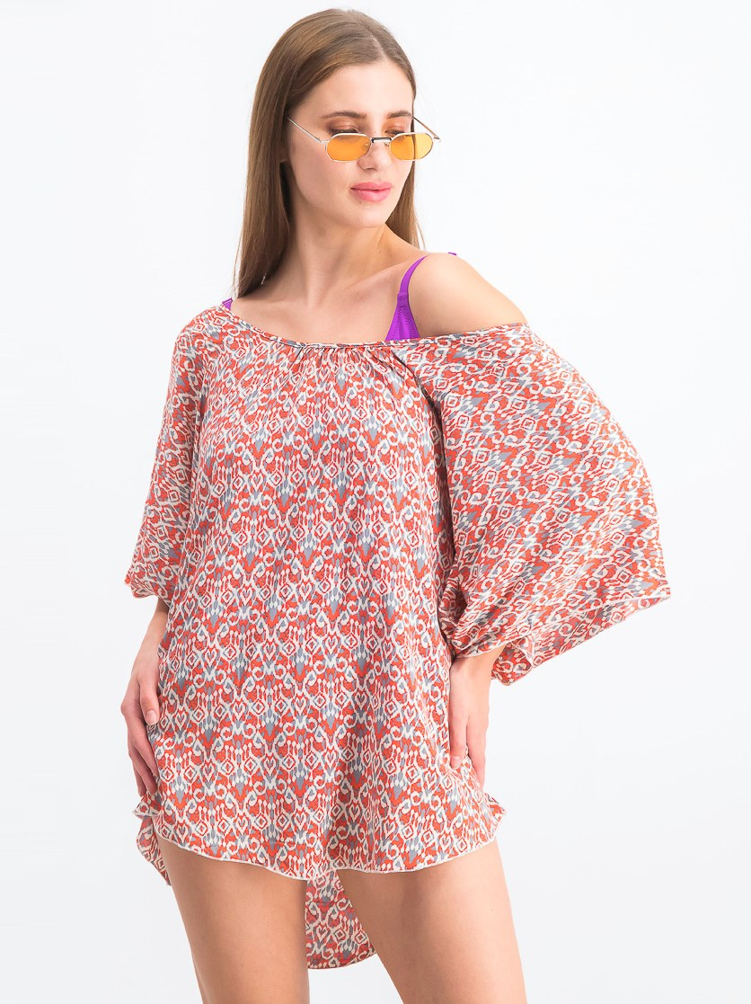 Women's Wild Tribe Clara Tunic Cover Up, Red Combo