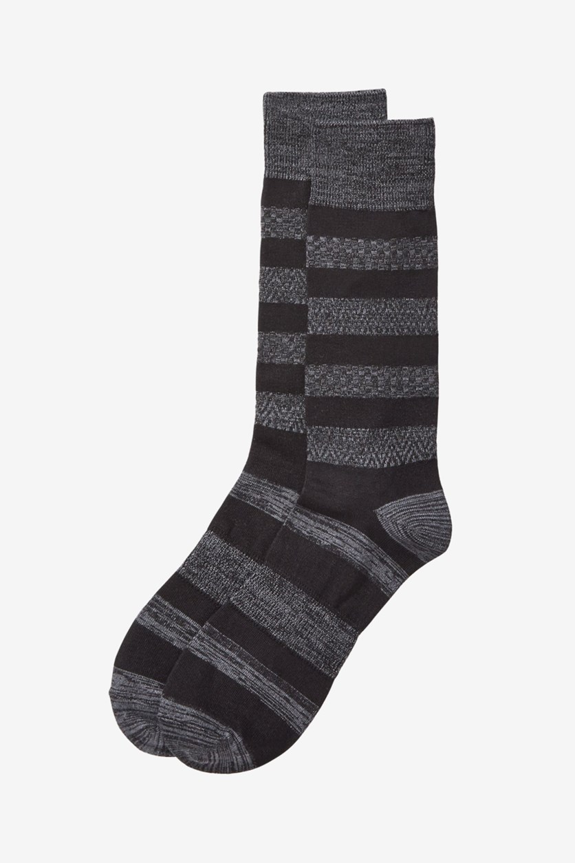 Mens Colorblock Stripes Dress Socks, Black