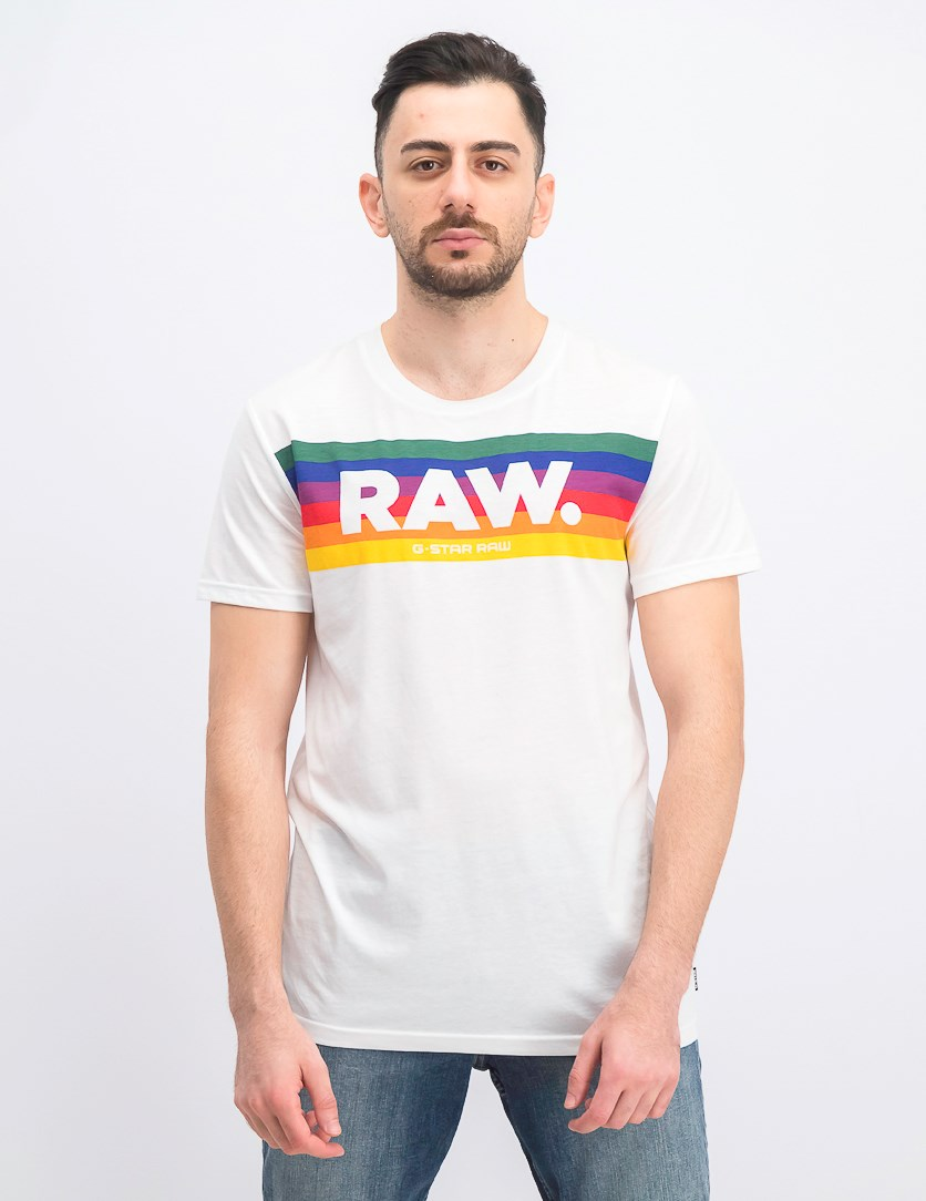 Men's Pride Crew Neck Short Sleeve Logo T-Shirt, White