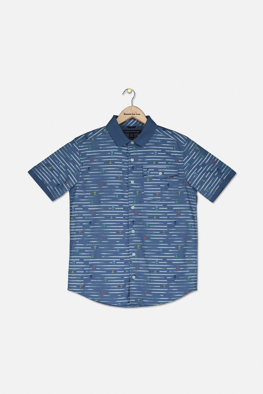 Big Boys Nathan Broken Stripe Poplin Shirt, Bijou Blue