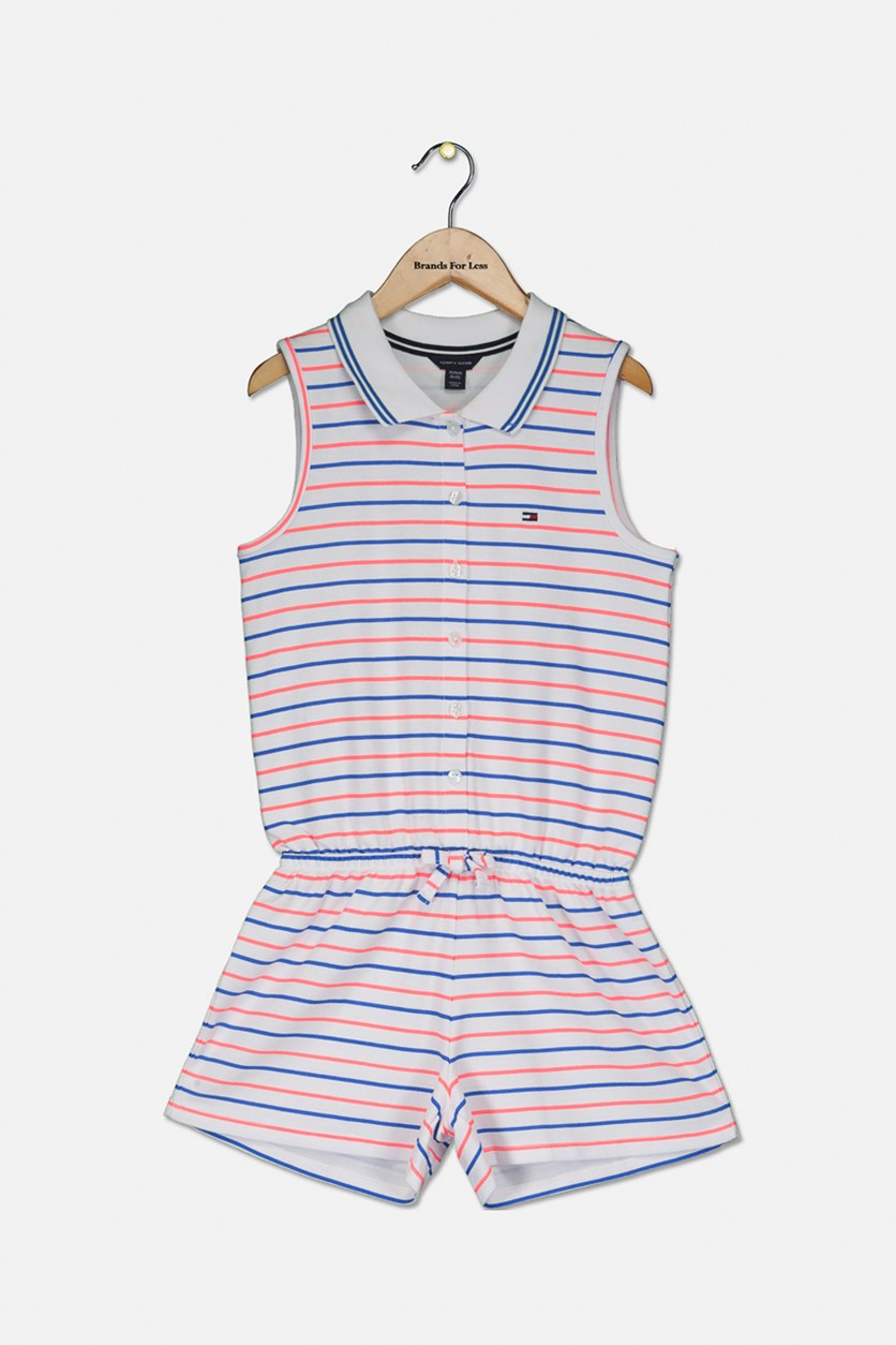 Big Girl's Striped Polo Romper, White/Blue/Pink