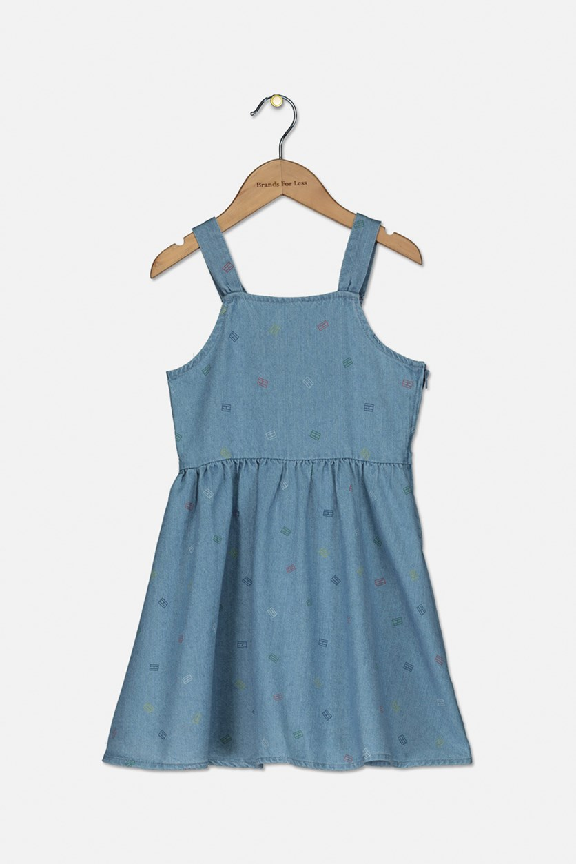 Little Girls Cotton Logo-Print Denim Dress, Wash Blue