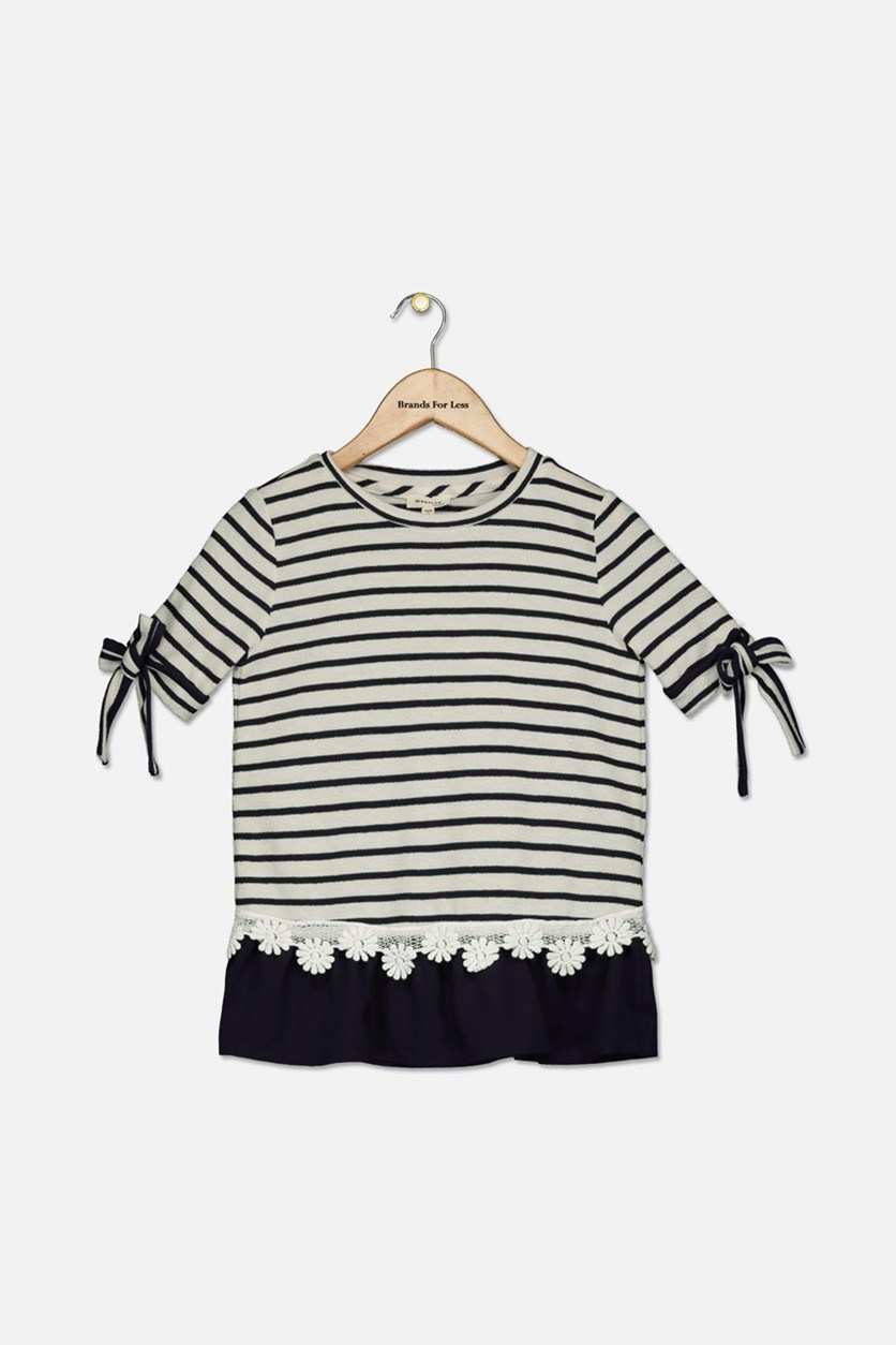 Big Girls Striped Flower-Trim Tunic, Ivory