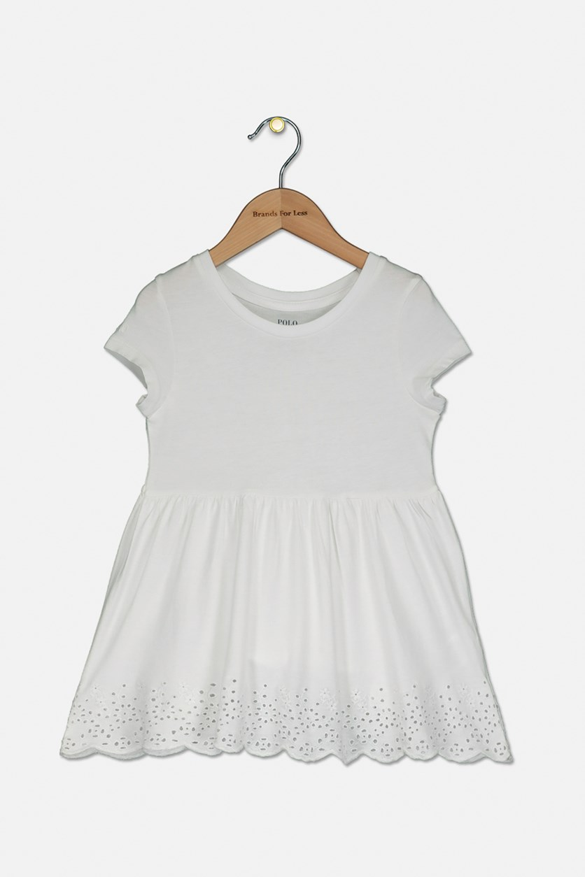 Little Girls Eyelet-Embroidered Cotton Top, White