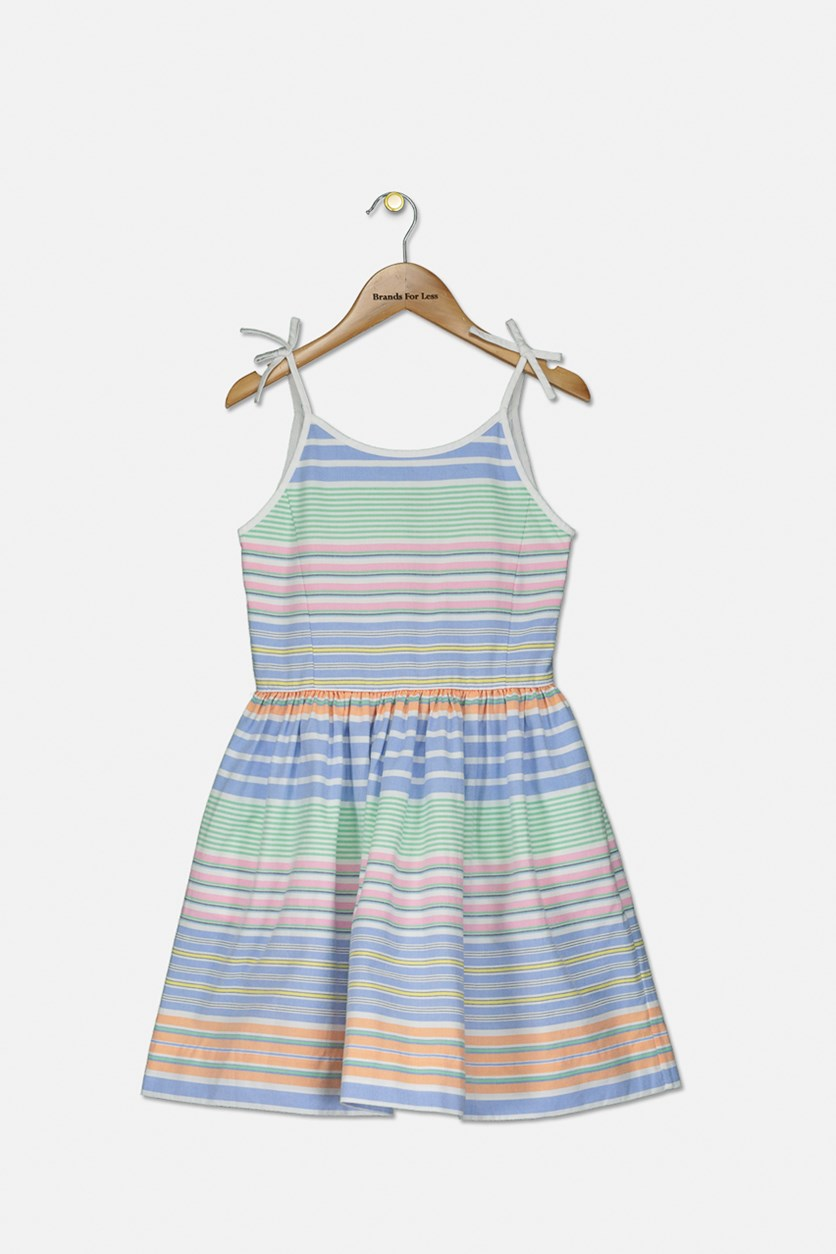 Big Girls Striped Cotton Oxford Dress, Blue/White