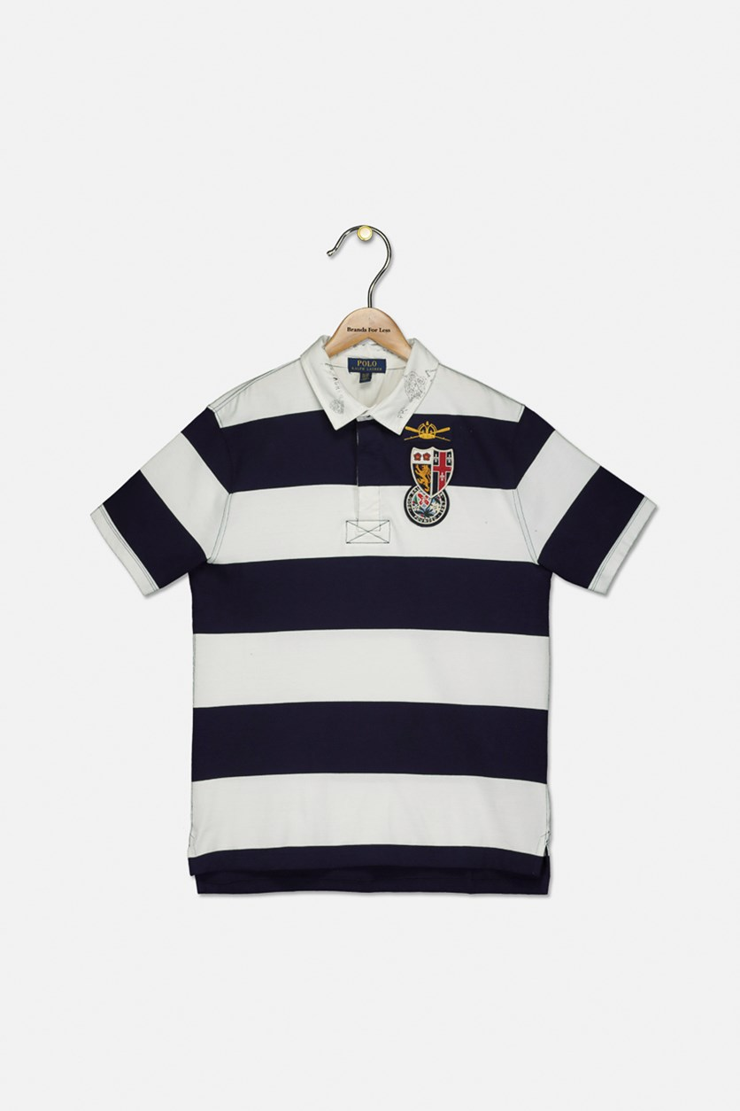 Boys' Striped Rugby Polo Shirt, Navy/White