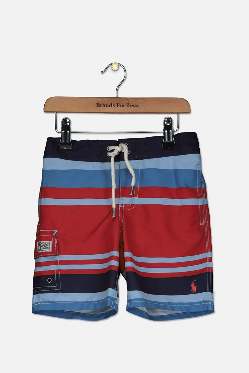 Little Boys' Kailua Striped Swim Trunks, Red Combo
