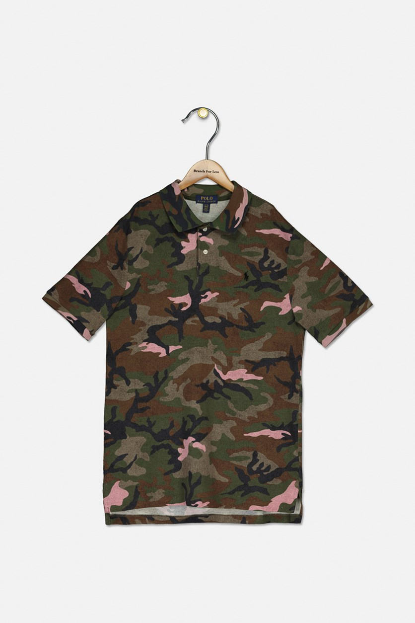 Big Boy's Camouflage Print Short Sleeve Shirt, Green Army Combo