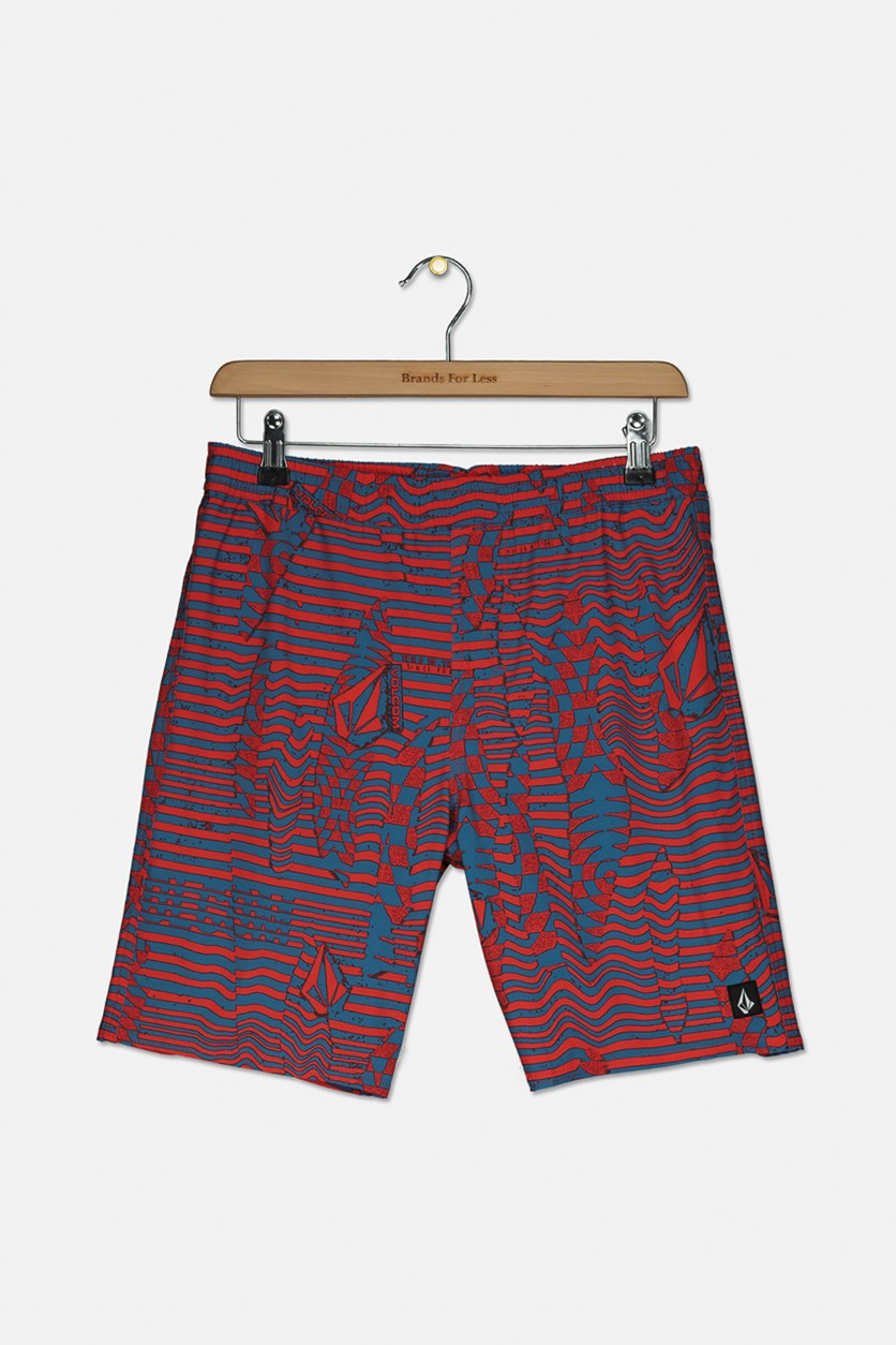 Big Boys Printed Pull On Swimwear, Red/Blue
