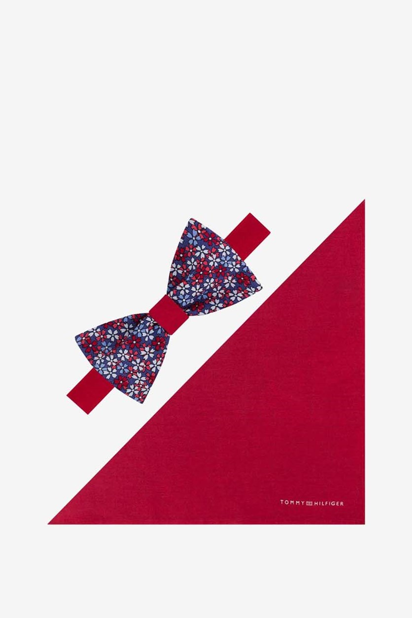 Men's Floral To-Be Tied Bow Tie & Solid Pocket Square Set, Red Combo