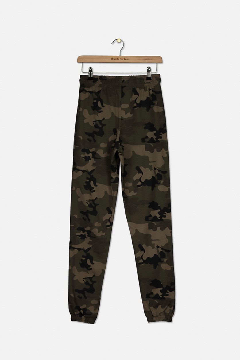 Boy's French Terry Camouflage Jogger Pants, Khaki