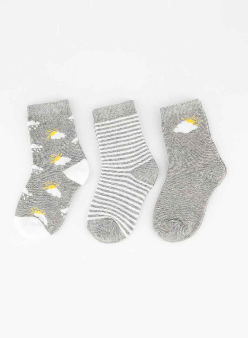 Toddlers Boys 3 Pairs Graphic Socks, Grey