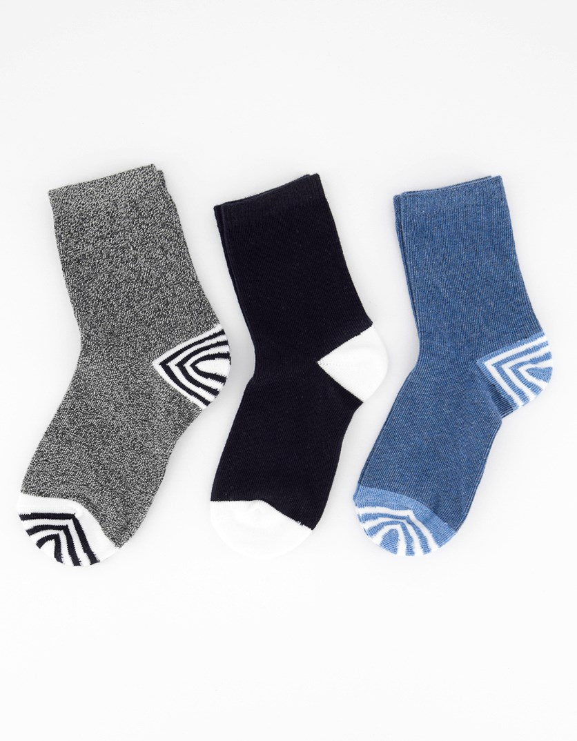 Boys 3 Pairs Solid Socks, Blue/Black/Grey