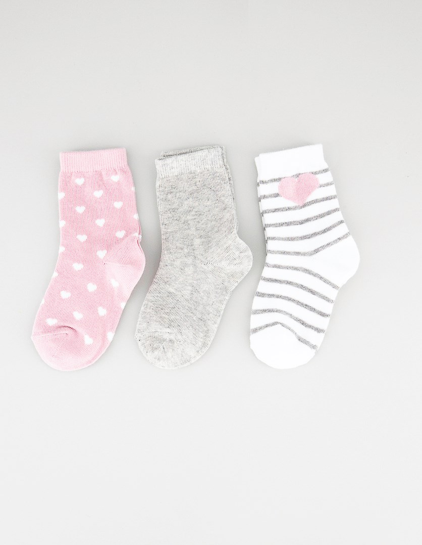 Toddler Girls 3 Pairs Ankle Socks, White/Grey/Pink