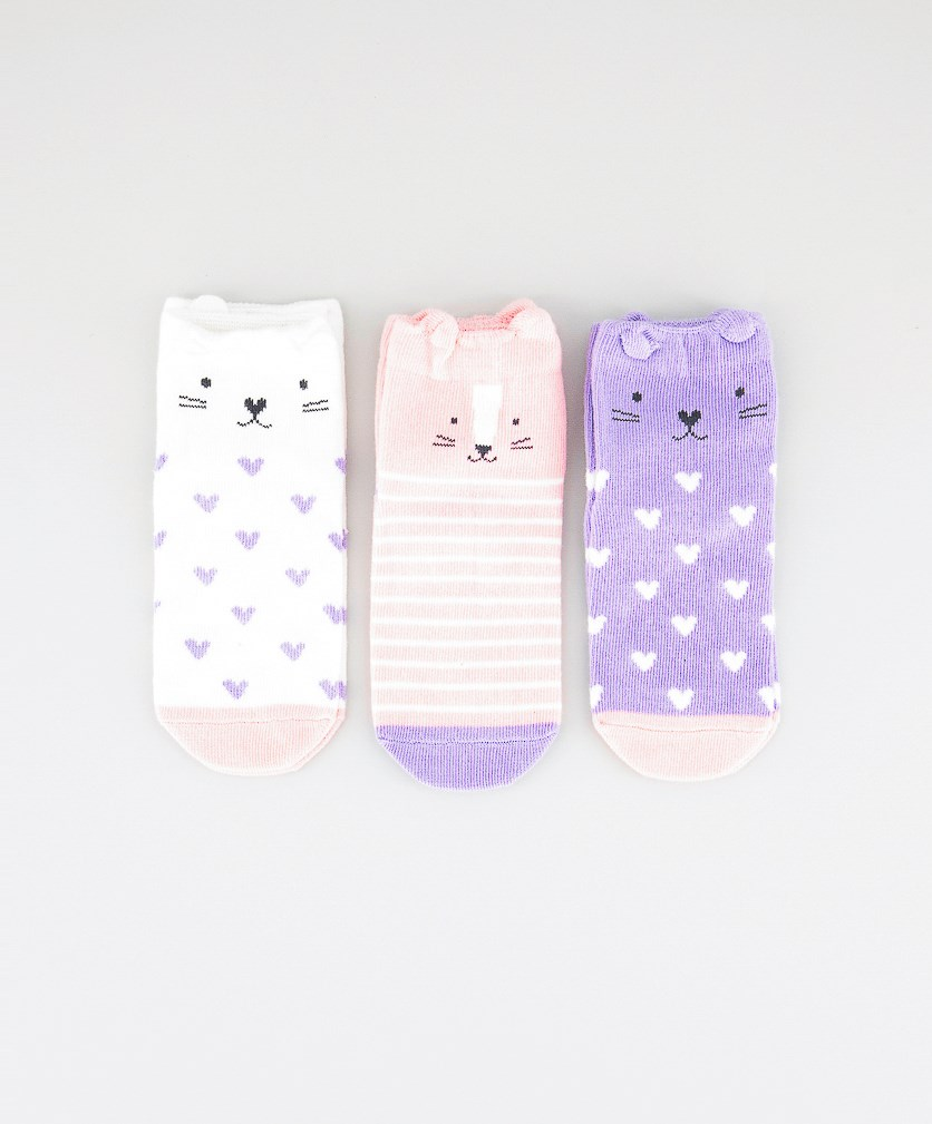 Kids Girls 3 Pairs Ankle Socks, White/Purple/Pink