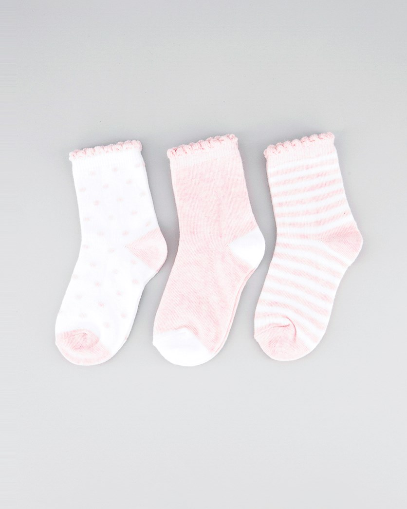 Kids Girls 3 Pair Ankle Socks, White/Pink