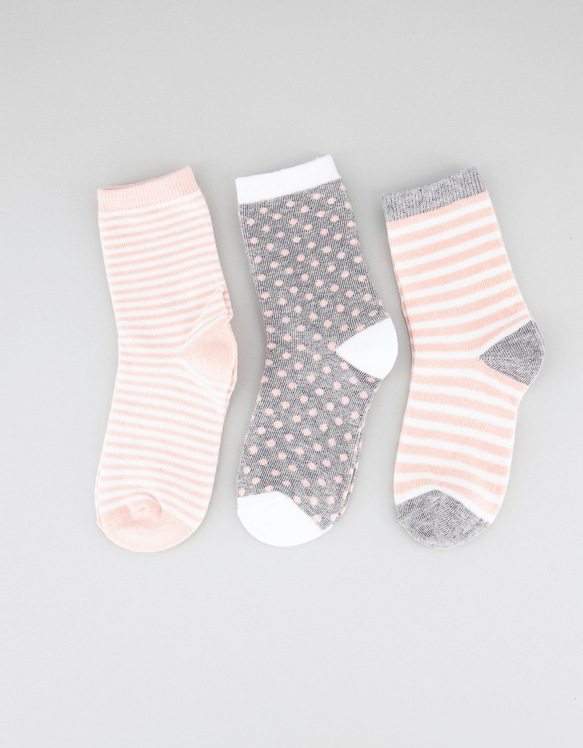 Kids Girls 3 Pairs Ankle Socks, Grey/Peach/White