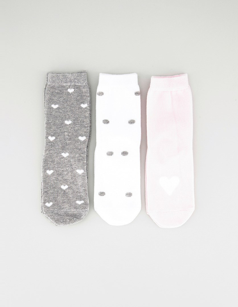 Kids Girls 3 Pairs Ankle Socks, Grey/Pink/White
